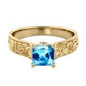 Aquamarine 1.06 ctw Ring with Diamonds 14K Yellow Gold Filigree Cathedral Princess