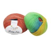 erthome 1pc 50g Chunky Hand-woven Rainbow Colourful Knitting Scores Wool Blend Yarn Fashion
