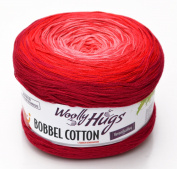Woolly Hugs Bobbel Cotton Colour 26 - rosso, 200g Bobbel with long Degradé - Colour gradient
