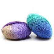 Good01 Rainbow Gradient Colour Long Paragraph Crochet Yarns Knitting Wool Beanie Scarf