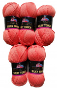 5 Packs of 100g Silky Touch Wool 205/15 Orange . 500 g Silky Super Soft