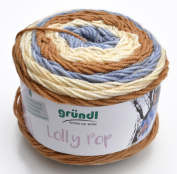 Gründl Wool Lolly Pop Colour 12, Quick knitting wool Bobbel Colour gradient yarn for Needle thickness 5 - 6 mm, incl. Instructions (german) for 1 Triangle cloth in the Bandarole