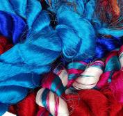 Colourful Silk Thrums, Sari Yarn Strip Bags Hemp Yarn - 500 Grammes