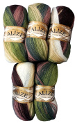 5 x 1893 Alize Knitting Yarn 100 g Colour Gradient Brown Olive Taupe Cream Mohair Knit and Crochet 500 Gramme Cotton