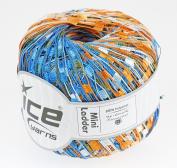 LADDER YARN by Ice Yarns No 46668. Blue/orange/white mix.+ Free Scarf Pattern