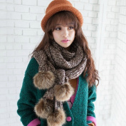 HOMEE Autumn and Winter Mixed Line Scarf Simulation Rabbit Ball Knitting Scarf