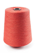 Flaxen Europe 100% Linen Yarn Cone - 2.700 metres - 12x12x16 cm - 0,5 KG (1 LBS) - Twisted from 3 PLY - Coral Red - Pure Flax Thread For Hand and Machine Sewing, Weaving, Crochet, Embroidering