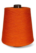 Flaxen Europe 100% Linen Yarn Cone - 2.700 metres - 12x12x16 cm - 0,5 KG (1 LBS) - Twisted from 3 PLY - Orange - Pure Flax Thread For Hand and Machine Sewing, Weaving, Crochet, Embroidering