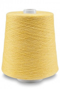 Flaxen Europe 100% Linen Yarn Cone - 2.700 metres - 12x12x16 cm - 0,5 KG (1 LBS) - Twisted from 3 PLY - Lemon Yellow - Pure Flax Thread For Hand and Machine Sewing, Weaving, Crochet, Embroidering