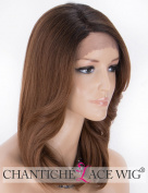 Chantiche Ombre Brown Lace Front Wig Dark Roots Natural Straight with Wavy Bangs L Part Synthetic Wigs for Women Half Hand Tied Shoulder Length Hair wigs