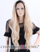 Chantiche Ombre Long Lace Front Wig for Women Light Blonde Synthetic Wig with White Highlight Black Roots Wavy Hair Wigs 60cm