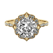 1.35 ctw Cushion Cut Forever One Moissanite Flower Leaves with Diamonds Engagement Ring 14k Yellow Gold