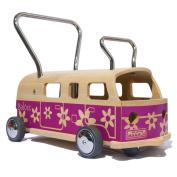 Wooden Walker + Ride-on toy MAAMUU Balòss Flower Power, Violet, Made in Italy
