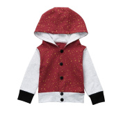 Baby Boys Hooded Sweatshirt Toodler Winter Warm Patchwork Long Sleeve Button Coat Infant Fashion Pullover Top T Shirt