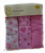 Muslin Nappies 80 x 80 cm, tested for harmful substances, Pink Heart Set Of 3 100% Cotton