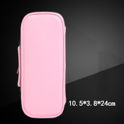 Large capacity pure colour pencil case / simple double with zipper leather pencil case / stationery bag