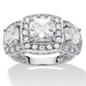 2.90 TCW Cushion-Cut and Round Cubic Zirconia Platinum over Sterling Silver 3-Stone Engagement Ring