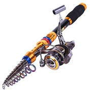 telescopic saltwater freshwater fishing rod and reel combos