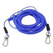 Plastic Stretchy Coiled Fishing Safety Lanyard Rope Blue 10m