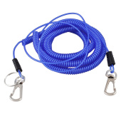 Plastic Stretchy Coiled Fishing Safety Lanyard Rope Blue 15m