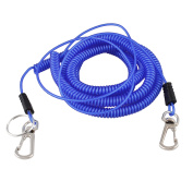 Plastic Stretchy Coiled Fishing Safety Lanyard Rope Blue 20m