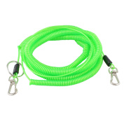 Plastic Stretchy Coiled Fishing Safety Lanyard Rope Green 20m