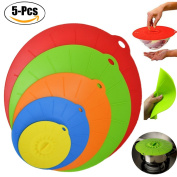 Silicone Lid, outgeek 5 Pcs Kitchen Bowl Cover Reusable Suction Seal Cover for Pan Container