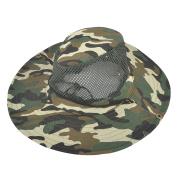 Unique Bargains Camouflage Adjustable Chin Strap Mesh Headband Sun Visor Fishing Hat
