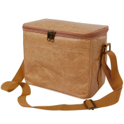 Lifewit Insulated Tyvek Lunch Box Lunch Bag, Water & Tear Resistant, Recyclable & Reusable Cooler Bag for Men / Women, Brown