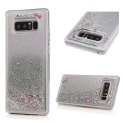 For Samsung Galaxy Note 8 Case,Badalink Shiny Flash Quicksand Star Glitter Case Clear Soft Gel TPU Cover Slim Fit Protective Shockproof Anti Scratch Case For Samsung Galaxy Note 8,Silver