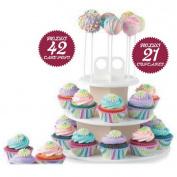 3 Tiers Snack and Cake Server 21pcs Cupcake Stand 42pcs Cake Stands Lollipop Holder