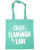 HippoWarehouse Crazy flamingo lady Tote Shopping Gym Beach Bag 42cm x38cm, 10 litres