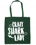 HippoWarehouse Crazy shark lady Tote Shopping Gym Beach Bag 42cm x38cm, 10 litres