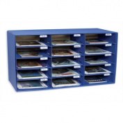 Pacon Classroom Keepers 15-Slot Mailbox, Blue, 33cm x 80cm x 42cm