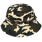 Outdoor Hunting Fishing Hiking Sun Camouflage Print Wide Brim Bucket Hat Cap