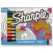 Sharpie Permanent Markers, 10 Fine and 10 Ultra-Fine Tip, Assorted Colours with Aquatic - Themed Adult Colouring Book