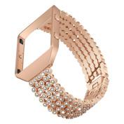 For Fitbit Blaze Strap + Metal Frame, YuStar Luxury Shining Jewel Stainless Steel Strap Bracelet Band and Holder for Fitbit Blaze