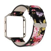 Gimartuk Genuine Leather Watch Band Floral Wrist Strap Bracelet for Fitbit Blaze with Metal Steel Frame