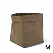 Per Washable Kraft Paper Bag Storage Container ECO Paper Bag Foldable Organiser For Succulents Plant Pot Toys Laundry Fruits Gift Wrap-Olive green,M