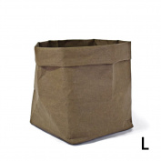 Per Washable Kraft Paper Bag Storage Container ECO Paper Bag Foldable Organiser For Succulents Plant Pot Toys Laundry Fruits Gift Wrap-Olive green,L