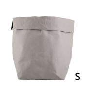 Per Washable Kraft Paper Bag Storage Container ECO Paper Bag Foldable Organiser For Succulents Plant Pot Toys Laundry Fruits Gift Wrap-Grey,S