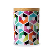Remember small container with wood lid Porcelain Hexagon