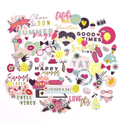 Prima Marketing Mpp Embellishments-Good Vibes-Ephemera Pack, Pink, Teal, Yellow