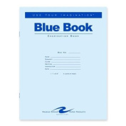 Roaring Spring Paper Products Exam Book, Wide Ruled, 4 Shts, 11''x8-1/2'', 100/PK, Blue