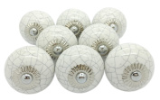 White Crackle Round Ceramic Door Knobs Vintage Shabby Chic Cupboard Drawer Pull Handles by G Decor