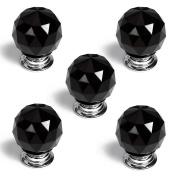 Revesun 8PCS/LOT Diameter 40mm Black Crystal Glass Door Knobs Cabinet Pulls Cupboard Handles Drawer Knobs Wardrobe Home Hardware