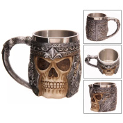 Itian 3D Skull Mug Stainless Steel Tankard Mug Coffee Tea Water Drinking Cup For Party Or Bar