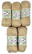 5 x 100 g Bamboo Wool Beige No. 76, 500 Grammes 100% Bamboo Knitting Yarn