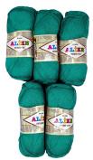 5 x 610, 500 Grammes 100% Bamboo Knitting Yarn 100 g Bamboo Cotton Dark Green