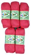 5 x 560, 500 Grammes 100% Bamboo Knitting Yarn 100 g bambou-cotton Pink